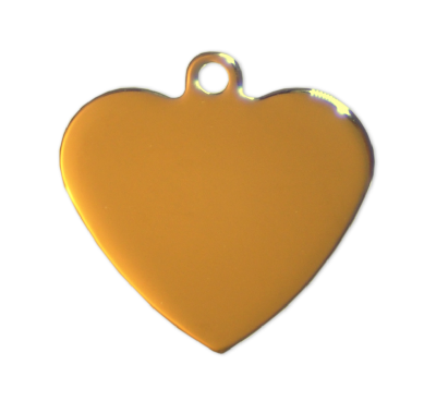 Heart tags - Gold - 27mm - (10 pieces)